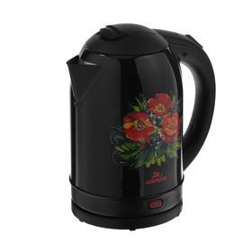 """Чайник электрический """"Добрыня"""" DO-1215, металл, 2 л, 2200 Вт, черный с цветами"""