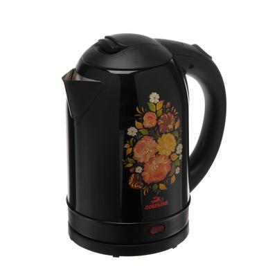 """Чайник электрический """"Добрыня"""" DO-1219, металл, 2 л, 2200 Вт, черный с цветами"""
