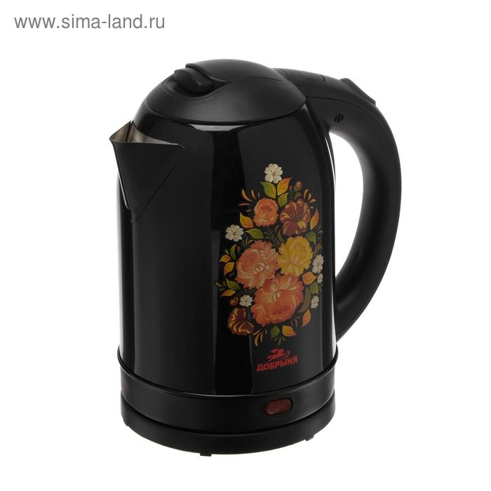 """Чайник электрический """"Добрыня"""" DO-1219, 2200 Вт, 1.8 л, черный с цветами"""