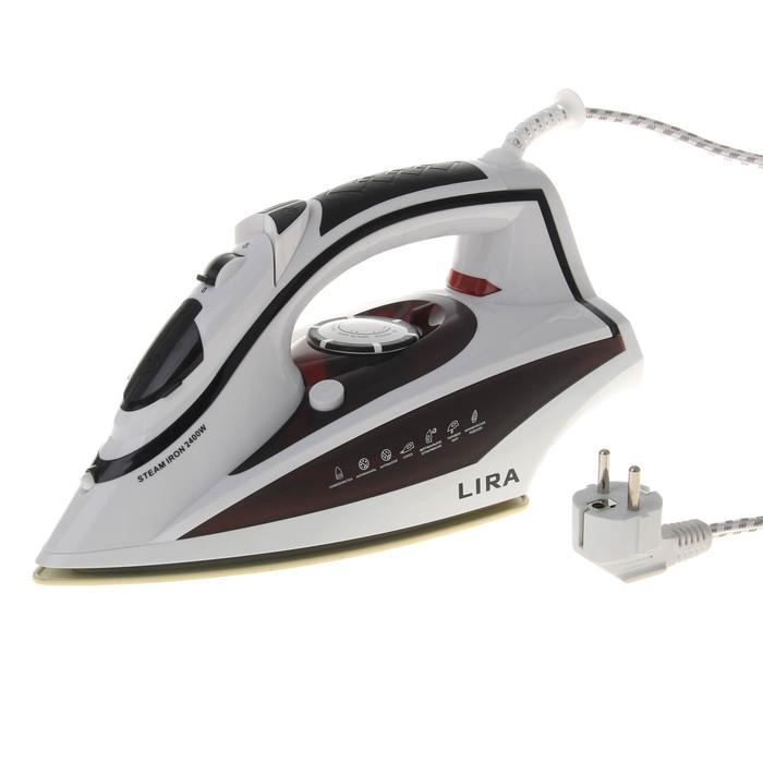 Утюг электрический LIRA LR 0603, 2400 Вт, керамическая подошва, бело-коричневый