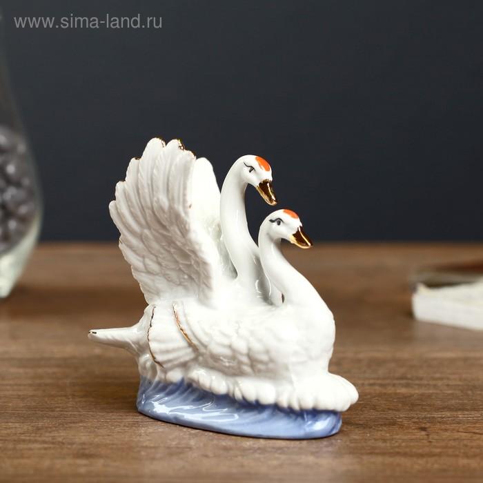 """Сувенир керамика """"Лебеди белые на волне"""" белые с золотом 11,5х4,8х11,5 см"""
