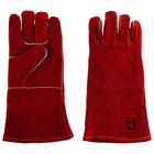 Краги «Трек Люкс» спилковые, пятипалые, нить Kevlar, цвет красный, длина 35 см