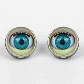 Глаза моргающие с ресничками, полупрозрачные, набор 2 шт, цвет зелёный, размер 1 шт: 2,2 см Ош