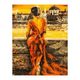 Роспись по холсту «Женщина в красном» по номерам с красками по 3 мл+ кисти+крепёж, 30×40 см