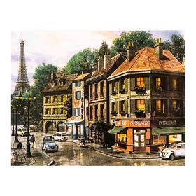 Роспись по холсту «Парижские улочки» по номерам с красками по3 мл+ кисти+инстр+крепёж, 30×40 см