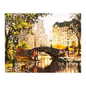 Роспись по холсту «Городской парк» по номерам с красками по3 мл+ кисти+инстр-я+крепёж, 30×40 см