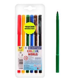 Фломастеры 6 цветов, Centropen 7550/06 ТП Colour World, блистер, европодвес, линия 1.0 мм