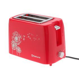 Тостер Sakura SA-7608R, 750 Вт, 5 режимов прожарки, 2 тоста, красный Ош