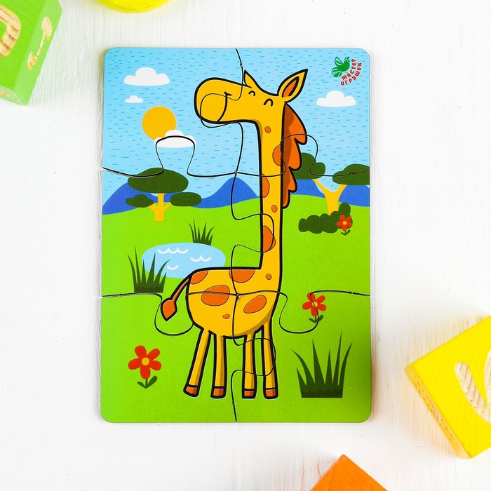 Пазл 6 элементов «Жираф», элемент: 4,7 × 5 см