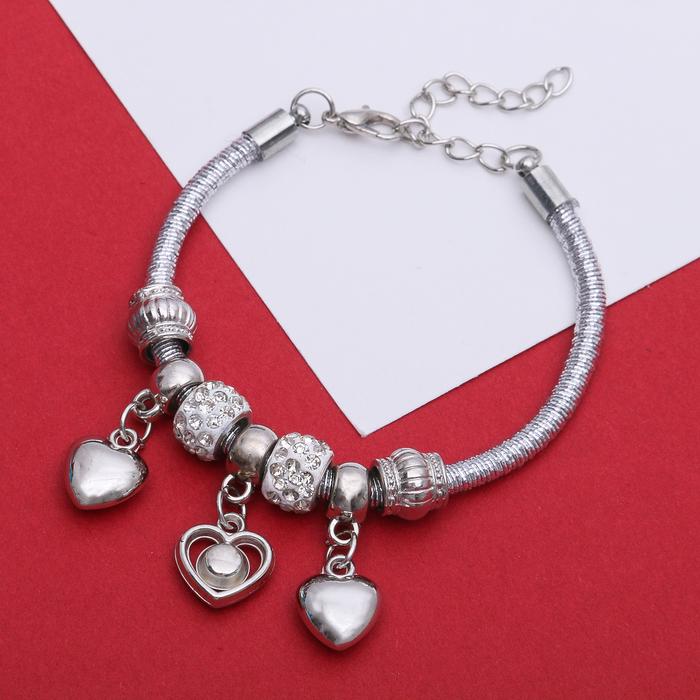 """Браслет """"Марджери"""" на нити, сердце, L=18,5 см, цвет белый в серебре"""