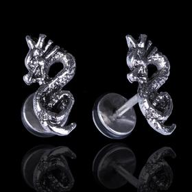 Пирсинг в ухо 'Дракон', цвет серебро Ош