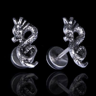 """Пирсинг в ухо """"Дракон"""", цвет серебро"""