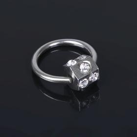 Пирсинг 'Кубик на кольце', цвет белый в серебре Ош