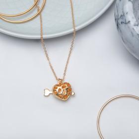 Кулон 'Сердце' амура, объёмное, цвет золото, 45 см Ош