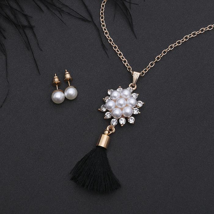 """Гарнитур 2 предмета: серьги, кулон """"Кисть"""" жемчужный цветок, цвет бело-чёрный в золоте, 50 см"""