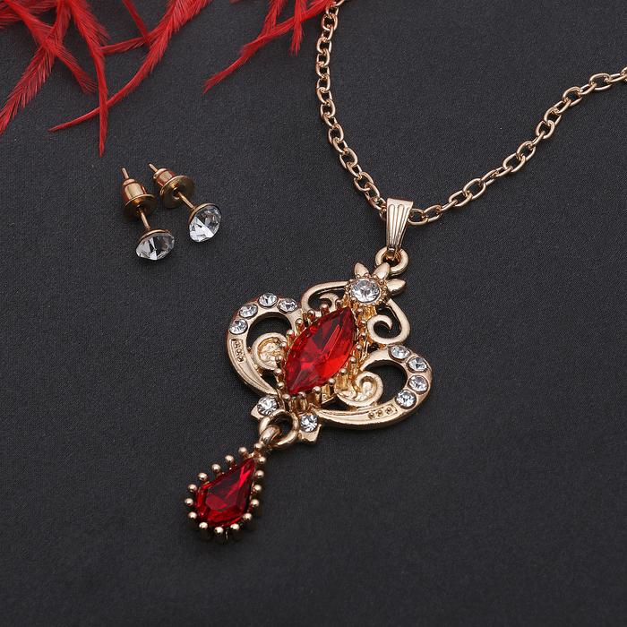 """Гарнитур 2 предмета: серьги, кулон """"Ажур"""" вивальди, цвет бело-красный в золоте, 50см"""