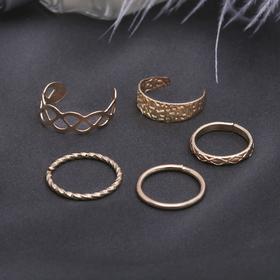 Кольцо на фалангу набор 5 штук 'Ассорти', цвет золото, размер 14,15,16 МИКС Ош