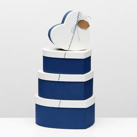 Набор коробок в форме сердца 4 в 1, синий, 29 х 26 х 13 - 19 х 17 х 8 см