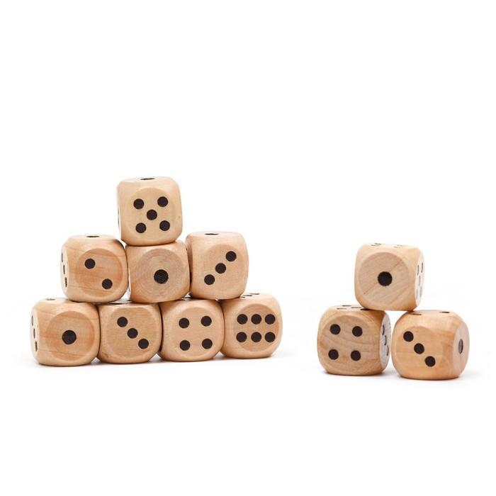 Кости игральные, деревянные, 100 шт, 1.2 х 1.2 см