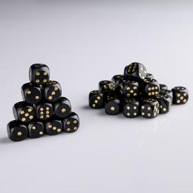 Кости игральные 1.6х1.6 см, дерево, черный с золотыми точками, фасовка 100 шт Ош