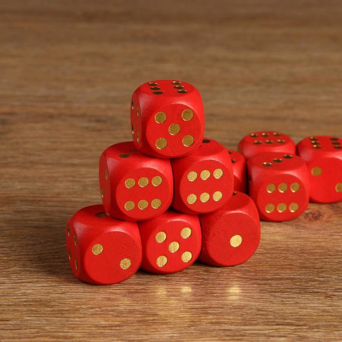 Кости игральные 3х3 см дерево, красные, золотые точки, фасовка 50 шт