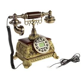 "Телефон ретро, ""Цветочки"", бронза с пластик. вставками под дерево 20х17х27"
