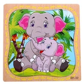 "Пазл в рамке ""Слонёнок и мама"""