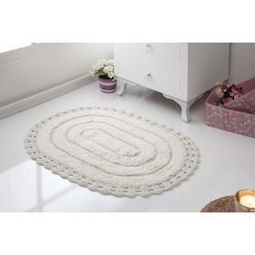 Коврик для ванной овальный Yana, размер 50х70 см, цвет кремовый