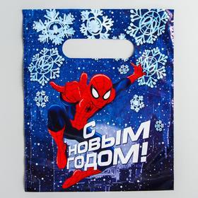Пакет подарочный полиэтиленовый с вырубной ручкой «С новым годом!», Человек-Паук, 17 х 20 см