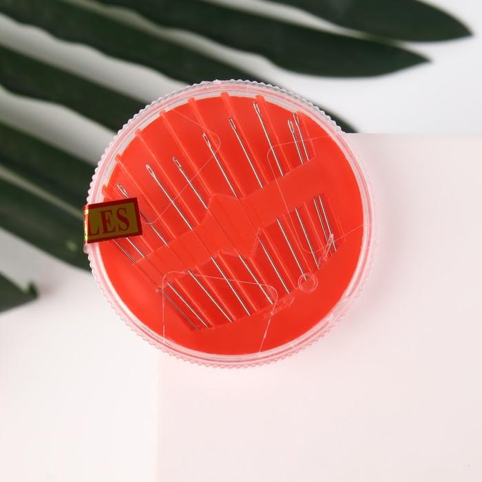 Иглы швейные в пластиковой коробочке, 10 шт, цвет МИКС