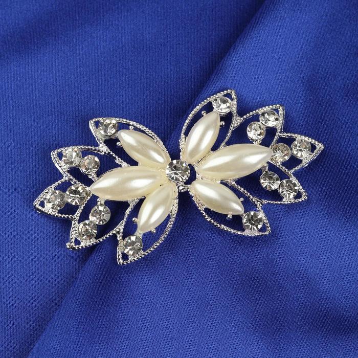 Декоративная застёжка, 7,5 × 4 см, цвет белый