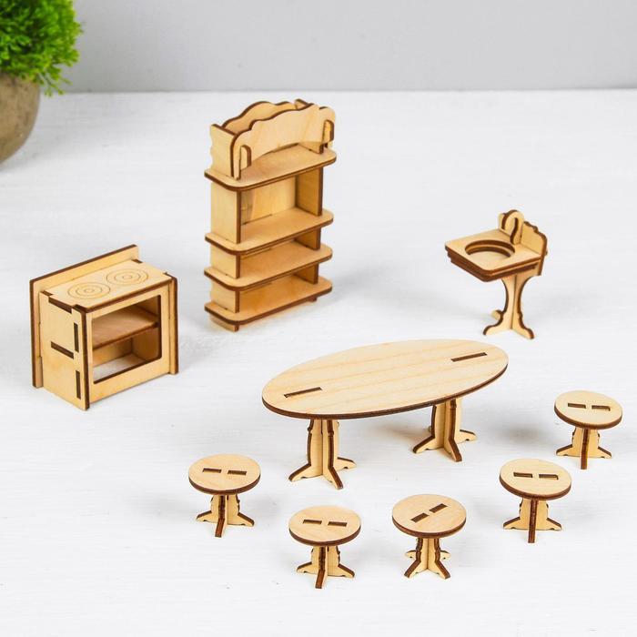 Набор деревянной мебели для кукол. Конструктор Кухня