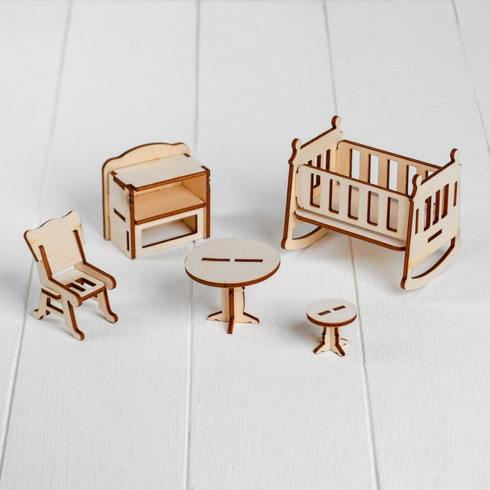 Набор деревянной мебели для кукол. Конструктор Детская