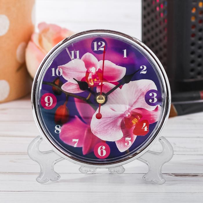Часы настольные Орхидея, 10 х 10 см