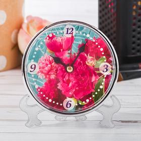Часы настольные «Пионы», 10 х 10 см Ош