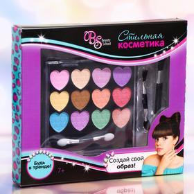 Набор косметики для девочки: тени, 14,4 г + кисть + кисть-аппликатор + аппликатор