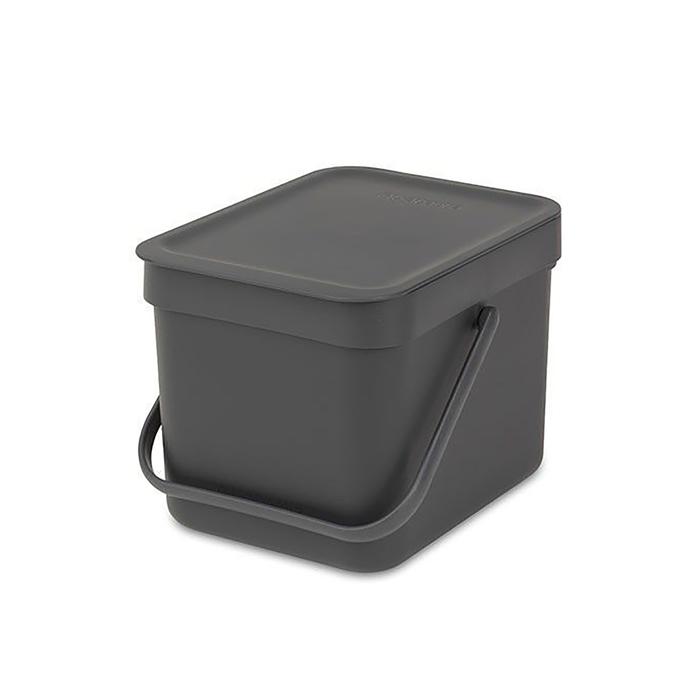 Ведро для мусора Brabantia Sort & Go, 6 л, встраиваемое, цвет чёрный