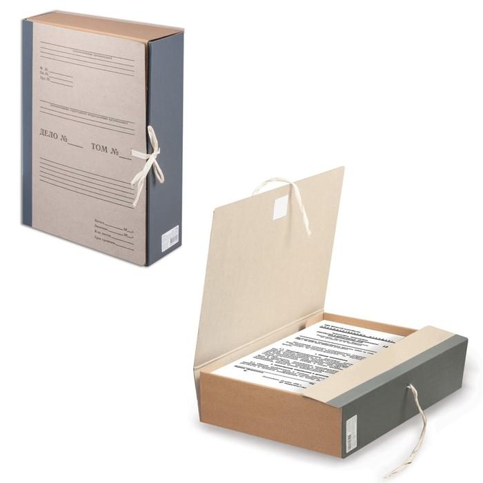 Короб архивный А4, 80 мм STAFF, переплетный картон, корешок-бумвинил, 2 х/б завязки, до 700 листов