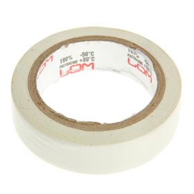 Изолента LOM, ПВХ, 15 мм х 7 м, 130 мкм, белая Ош