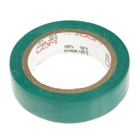 Изолента LOM, ПВХ, 15 мм х 7 м, 130 мкм, зеленая Ош