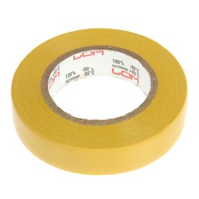 Изолента LOM, ПВХ, 15 мм х 14 м, 130 мкм, желтая Ош
