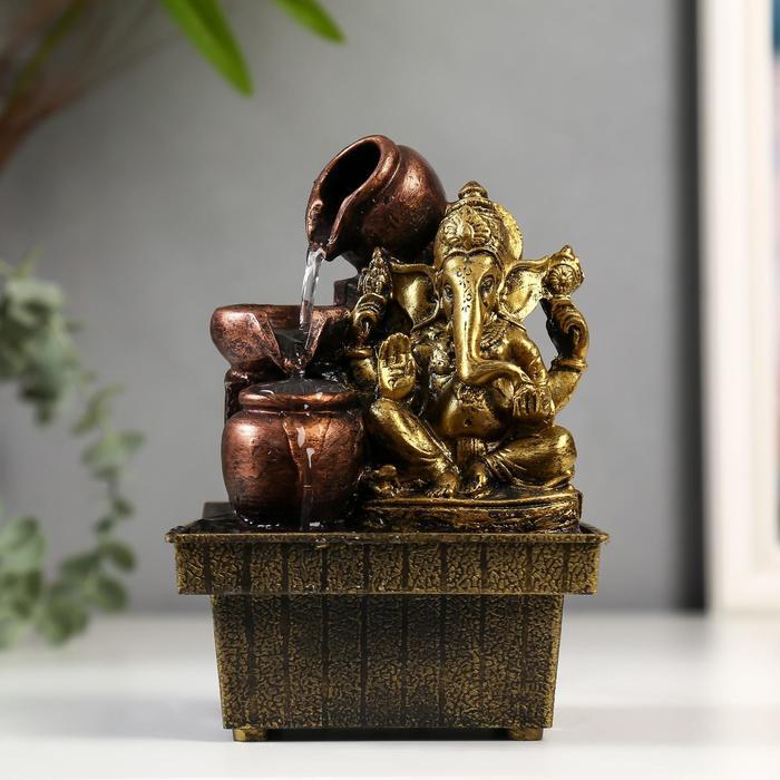Фонтан Ганеша с кувшинами золото 19,5х13,5х10 см