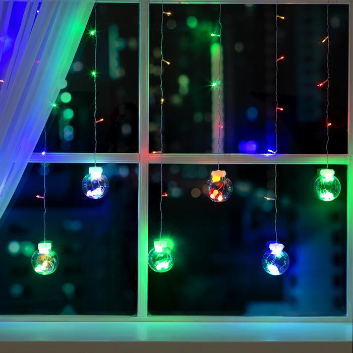 """Гирлянда """"Бахрома"""" 2.4 х 0.7 м с насадками """"Шарики"""", IP20, прозрачная нить, 108 LED, свечение мульти, 8 режимов, 220 В"""