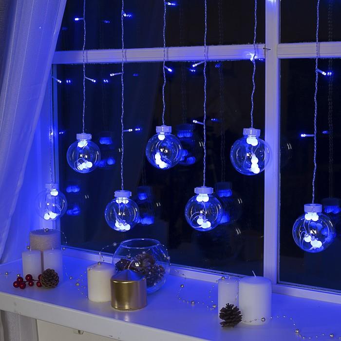 """Гирлянда """"Бахрома"""" 2.4 х 0.7 м с насадками """"Шарики"""", IP20, прозрачная нить, 108 LED, свечение синее, 8 режимов, 220 В"""