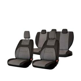 Чехлы сиденья Nissan Almera седан с 2012 г слитная спинка, жаккард 11 предм. SKYWAY, черный, тёмно-серый