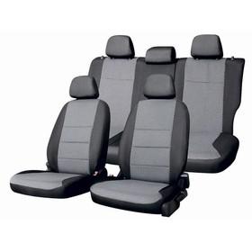 Чехлы сиденья Nissan Qashqai 2006-2013 5мест SUV жаккард 13 предм. SKYWAY, черный, серый