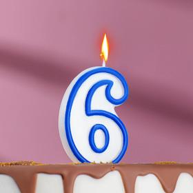 Свеча восковая для торта 'Цветной ободок' цифра 6, цвета МИКС Ош
