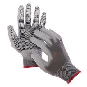 Перчатки нейлоновые, с ПУ покрытием, с ПВХ точками, размер 7, цвет МИКС