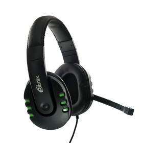 Наушники Ritmix RH-555M Gaming, игровые, полноразмерные, микрофон, 3.5 мм, 1.8 м, черные Ош