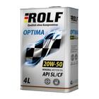 Моторное масло Rolf Optima 20W-50API SL/CF, 4 л